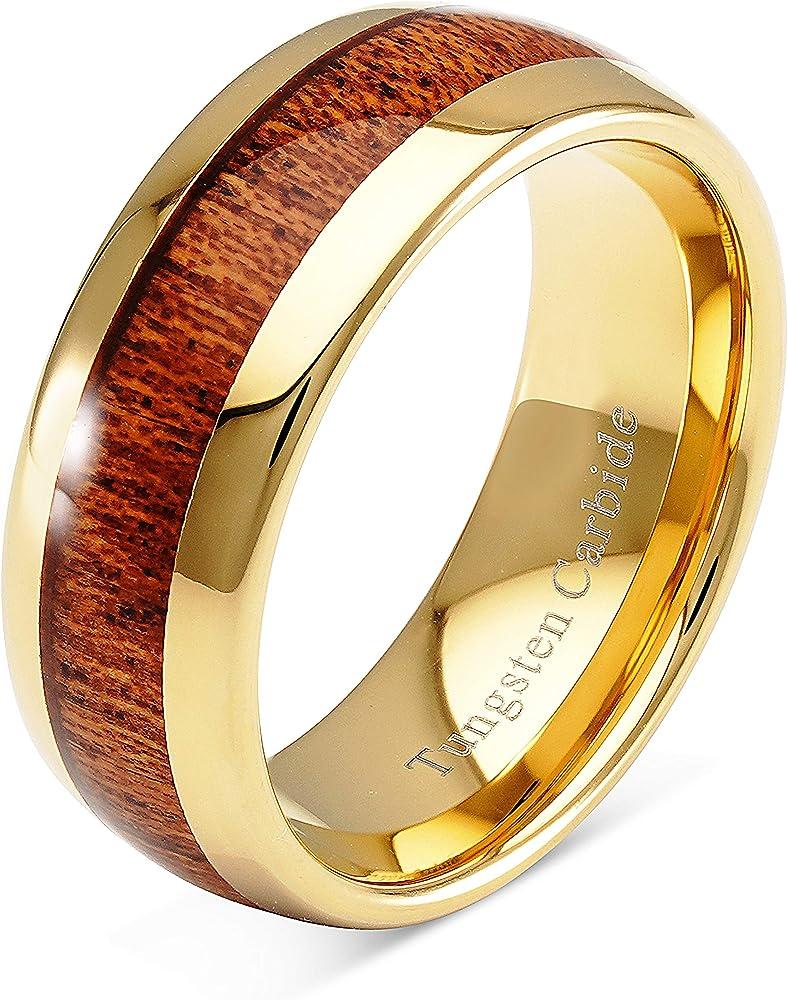 Personalized Wedding Band-8 mm Tungsten Gold Band Ring Gold Tungsten Ring Personalized Gold Fiber Tungsten Ring