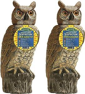 Dalen Gardeneer 100055888 Gardeneer by Dalen Solar Action Owl Natural Scarecrow Device, 18in, 18 in. in, Yellow (Pack of 2)
