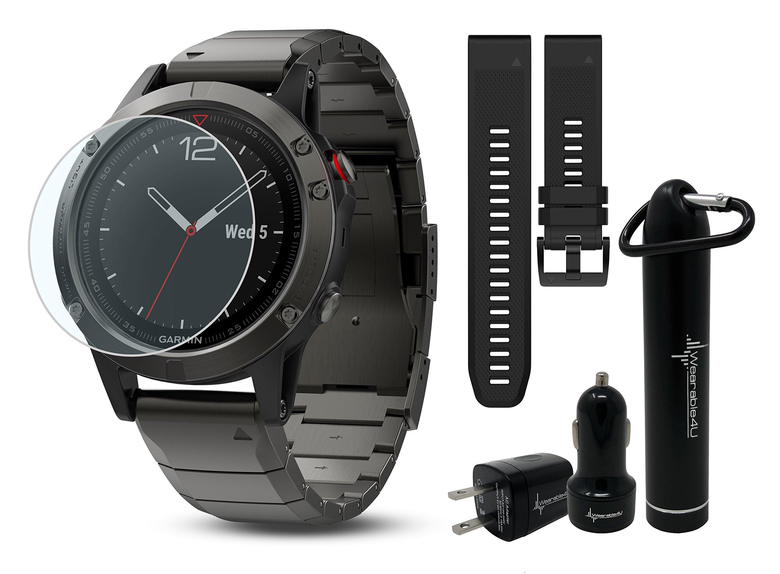 Garmin Fenix 5 GPS Multisport Watch Ultimate Bundle | Includes Garmin Fenix 5 Watch (47mm), HD Glass Screen Protector, Wearable4U Power Bank, Wearable4U Car / Wall USB Charging Adapters |