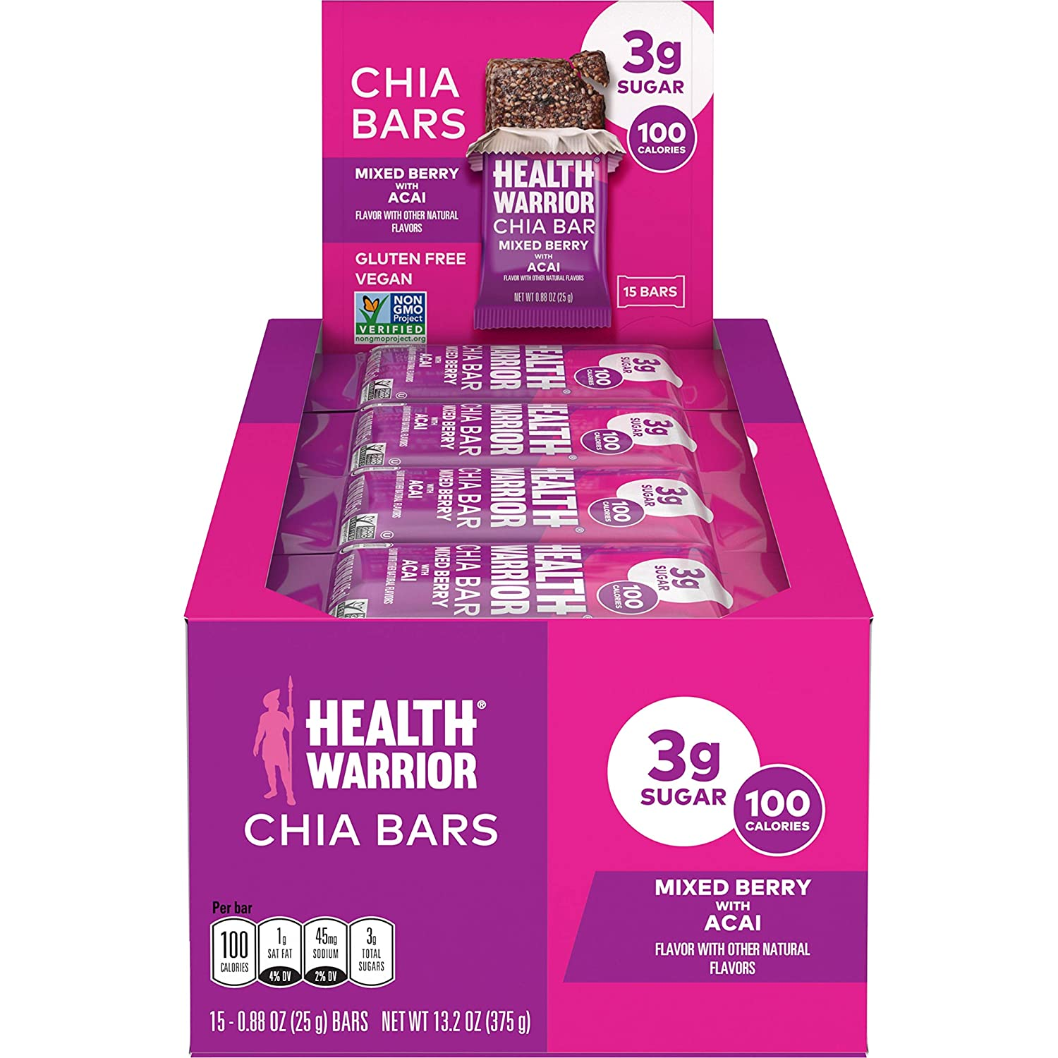 HEALTH WARRIOR Chia Bars, Acai Berry, Gluten Free, Vegan, 25g bars, 15 Count