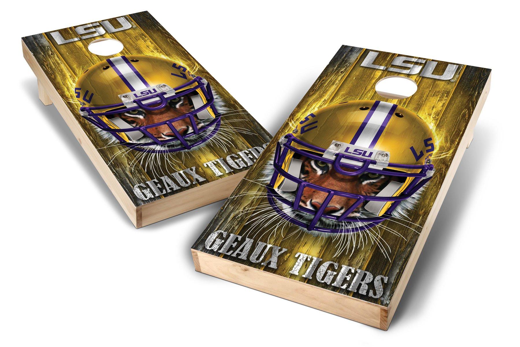 PROLINE NCAA College LSU Tigers 2'x4' Cornhole Board Set - Mascot Design, Natural Wood