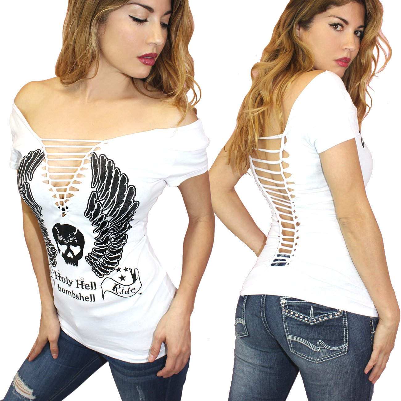480075da6e65 Amazon.com: Demi Loon Sexy Slashed Cut Out Biker Tee| Graphic Women's  Motorcycle T-Shirt: Clothing
