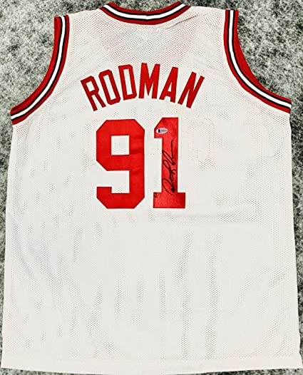 best authentic c73b3 99683 Dennis Rodman Signed Jersey - White BAS Beckett - Beckett ...