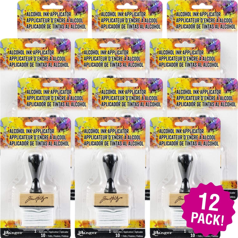 Tim Holtz 95324 Adirondack Alcohol Ink Applicator 12/Pkg, Stamp Handle W/10 Felts Pack