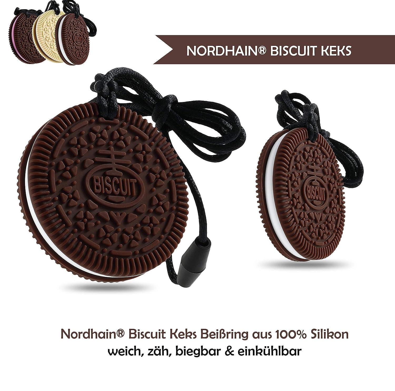 Nordhain Biskuit Keks Beißring für Babys aus hochwertigem Silikon - unterstützender Spielkamerad & Freund deines Babys in zahnender Zeit