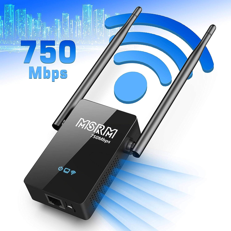 USMSRM US750 750Mbps Long WiFi Range Extender High Power Dual Band Range Extender with Double 5dBi External Antennas