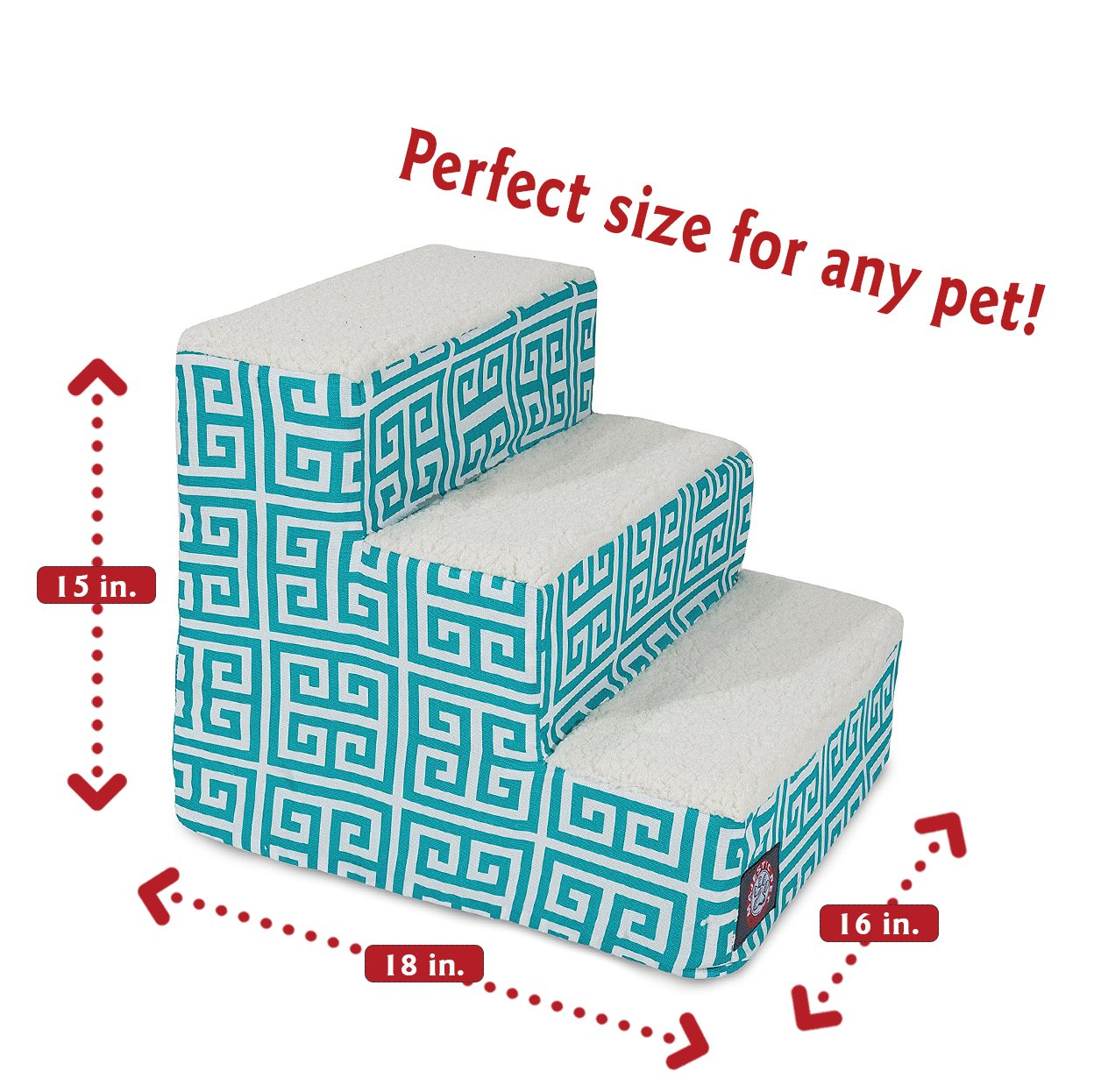 Majestic Pet 3 Step Portable Pet Stairs By Products Pacific Towers Steps for Cats and Dogs Blue Teal by Majestic Pet (Image #2)