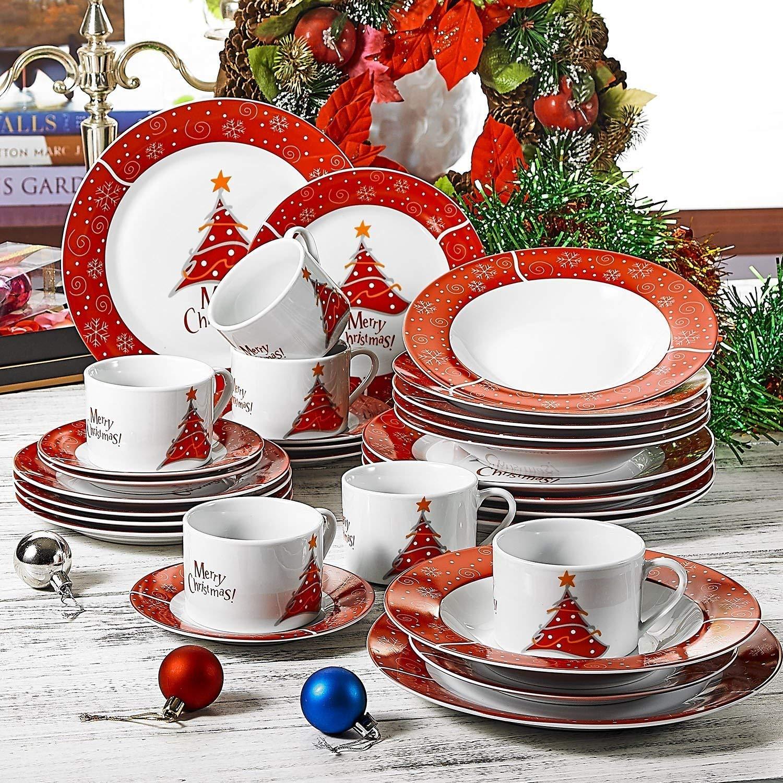 VEWEET, Serie Christmastree, Porzellan Kombiservice, 30-teilig Geschirr Set für Weihanchten