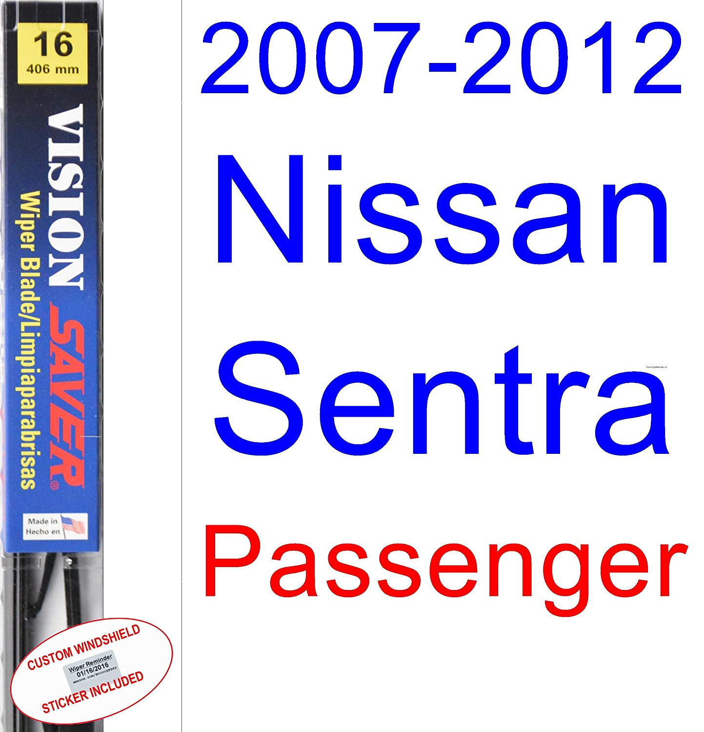 Amazon.com: 2007-2012 Nissan Sentra Wiper Blade (Driver) (Saver Automotive Products-Vision Saver) (2008,2009,2010,2011): Automotive