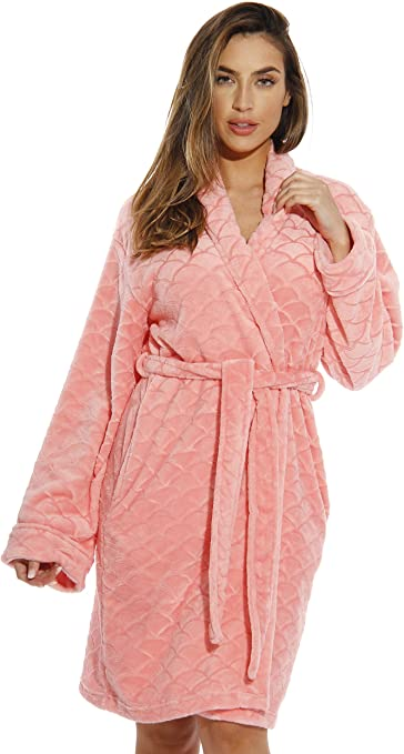 Just Love Kimono Robe Velour Scalloped Texture Bath Robes for Women
