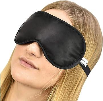 Noir + Argent Masque de Bloc de Lumi/ère de Voyage Respirant 2 Pi/èces 100/% Soie Naturelle Ultra-Douce Masque de Nuit Chat avec Sangle R/églable Wilxaw Masque pour Les Yeux de Sommeil en Soie