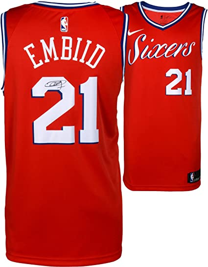 79d77eac8a6 Joel Embiid Philadelphia 76ers Autographed Red Statement Nike Swingman  Jersey - Fanatics Authentic Certified at Amazon s Sports Collectibles Store
