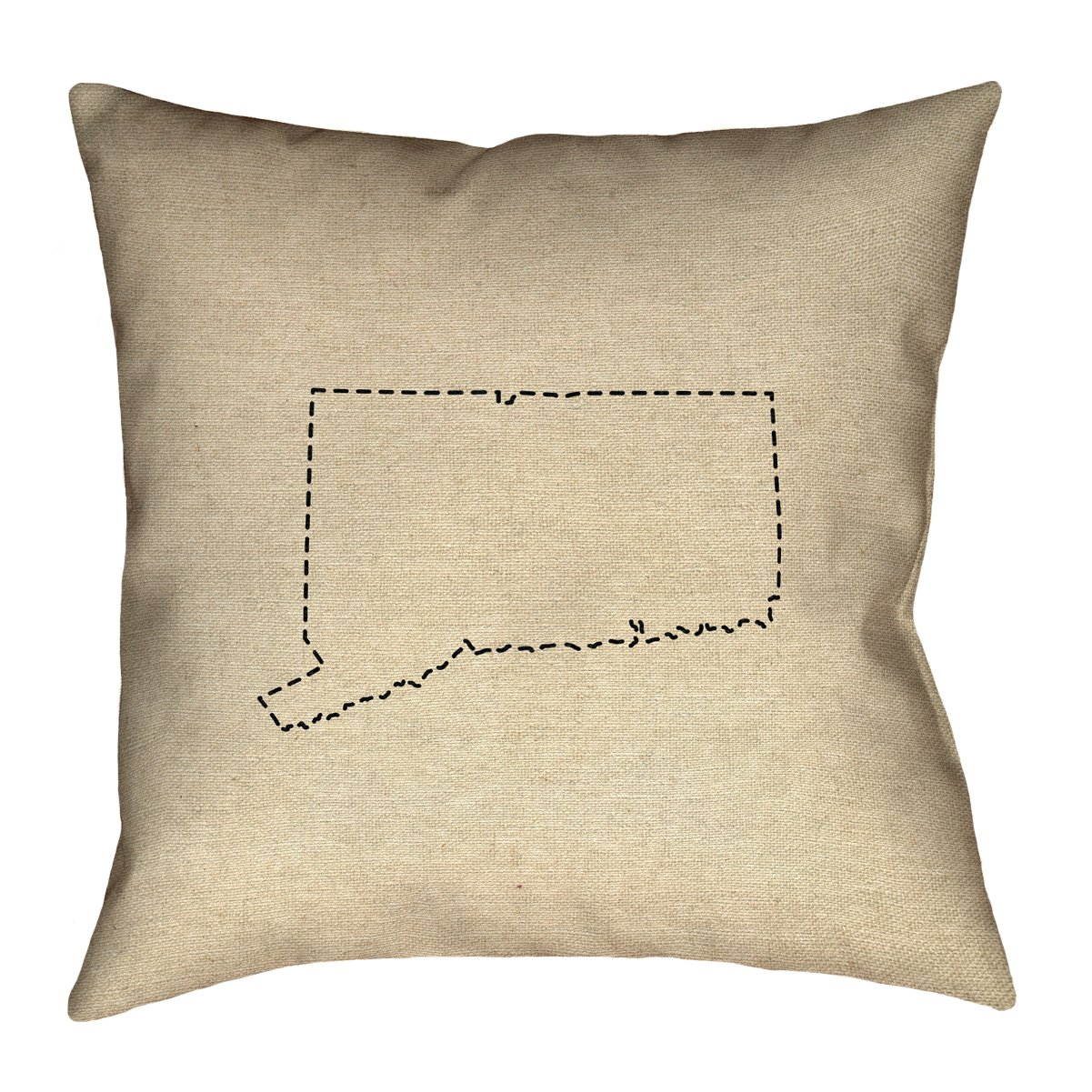ArtVerse Katelyn Smith 16 x 16 Spun Polyester Connecticut Outline Pillow