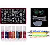 Lifestyle-You® Nail Stamping Kit With Double Sided Clear Jelly Stamper, Stamping Nail Polish Set & Nail Dotting Tool Set