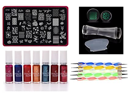 Lifestyle YouR Nail Stamping Kit With Double Sided Clear Jelly Stamper