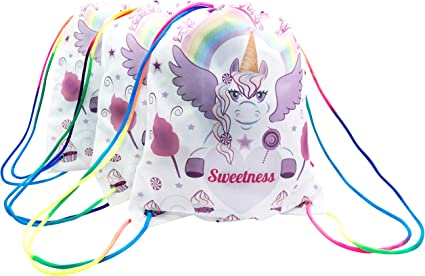 Unicorn Party favor Bags Drawstring Treat Backpack Girls Birthday Party 12 Pack