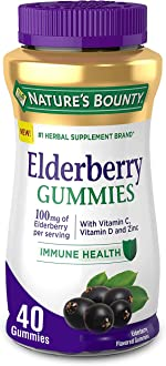 Nature's Bounty Elderberry Gummies, Contains Vitamin A, C, D, E and
