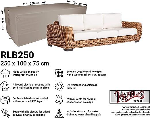Raffles Covers NW-RLB250Straight - Funda para sofá de Exteriores (250 x 100 cm, 75 cm), Color Negro: Amazon.es: Jardín
