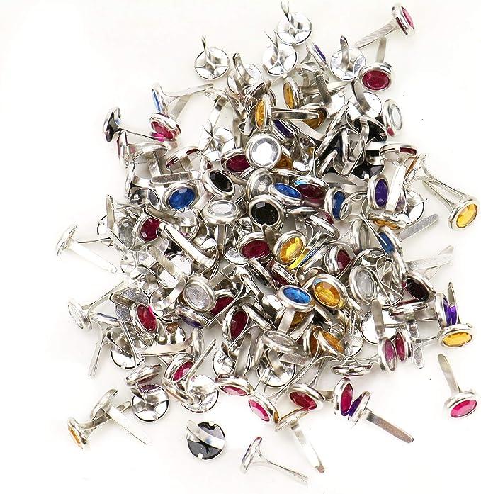 WSSROGY 200Pcs Metal Rhinestone Brads Paper Fasteners Brads for Scrapbooking Card Making Art Craft Mixed Colors