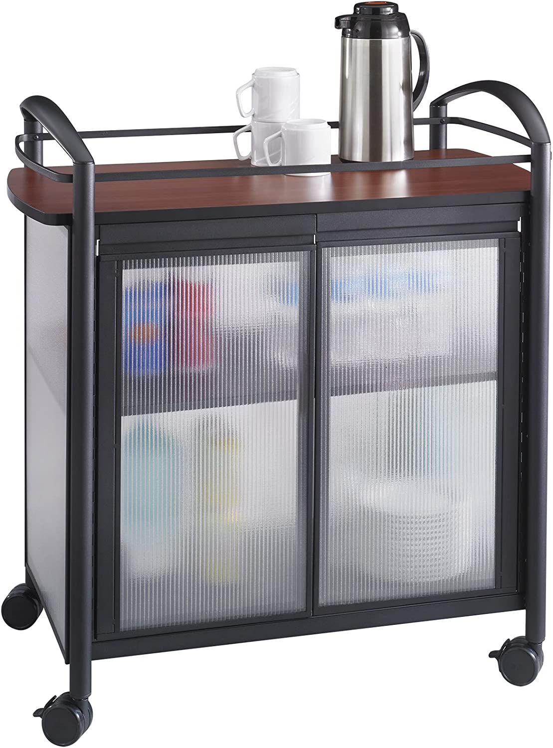 Safco Products Impromptu Refreshment Cart 8966BL, Cherry Top Black Frame, 200 lbs. Capacity, Double Doors, Swivel Wheels