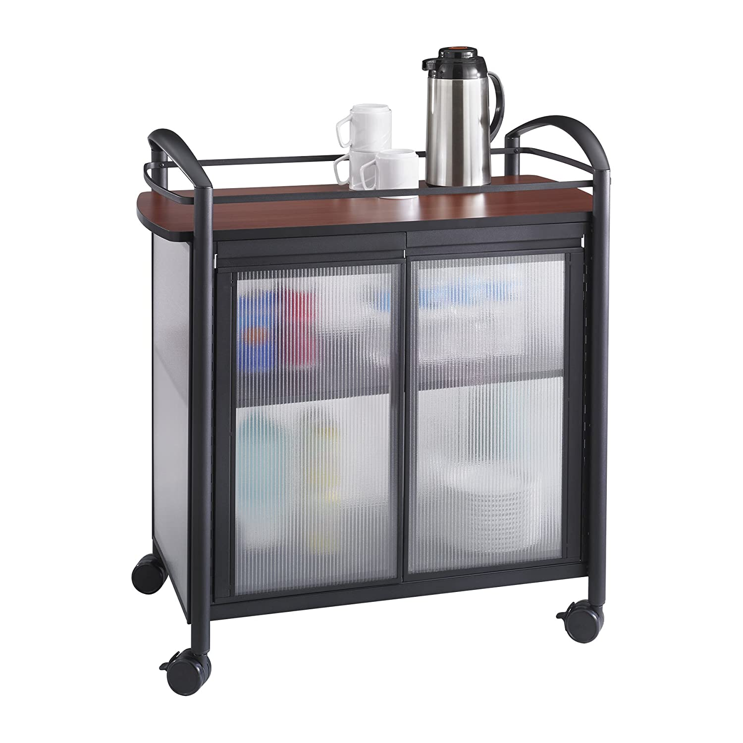 Safco Products Impromptu Refreshment Cart 8966BL, Cherry Top/Black Frame, 200 lbs. Capacity, Double Doors, Swivel Wheels
