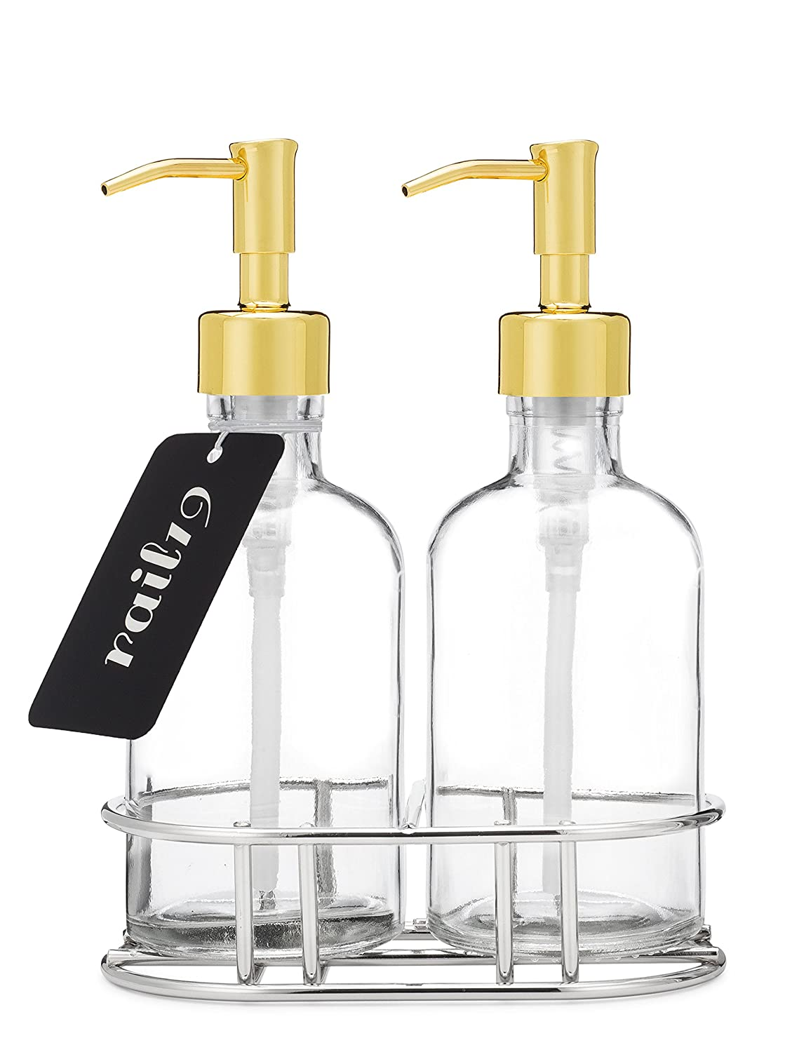 Rail19 Glass Soap Dispenser Set with Metal Lotion and Soap Pump + Chrome Metal Caddy (Gold) R1900113CBG
