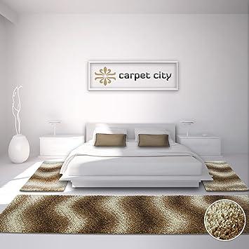 Carpet City Bettumrandung Shaggy Design Teppich Läufer Hochflor Langflor  Mit Wellen Muster Für