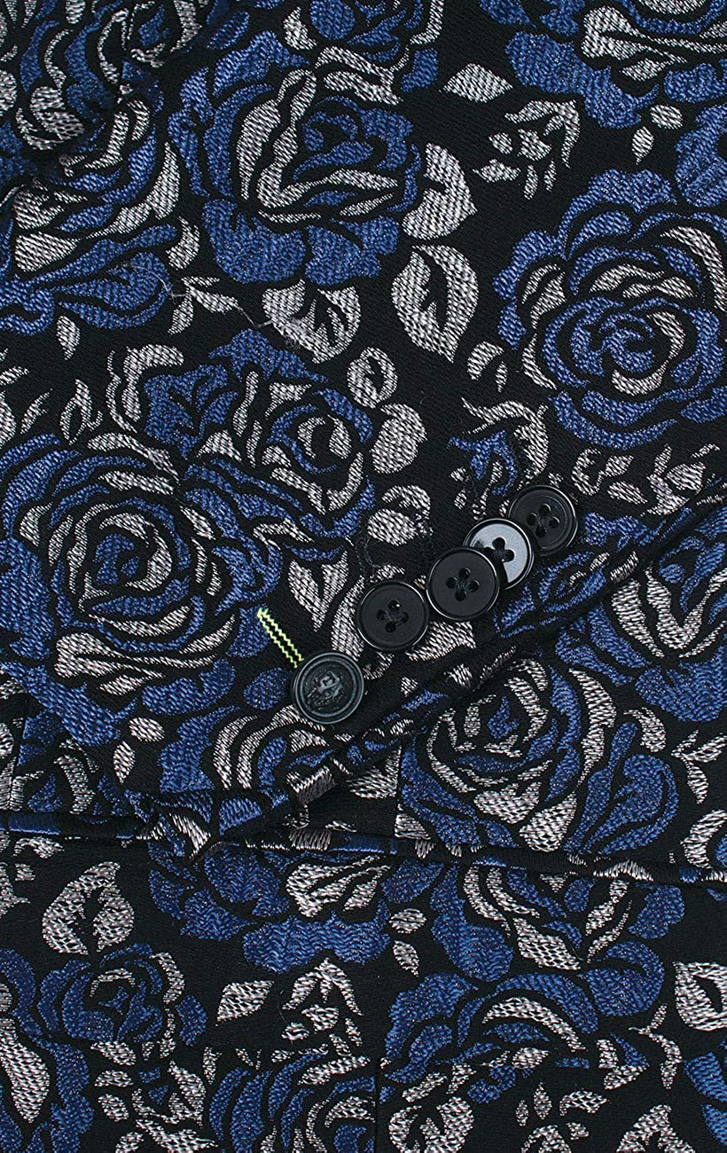 Twisted Tailor Mens Blue Tuxedo Jacket Skinny Fit Peak Lapel Floral Jacquard