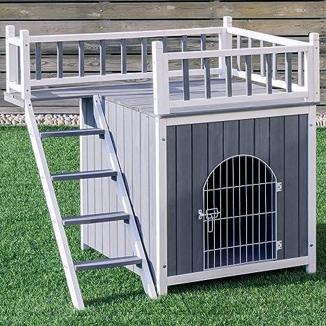 Tangkula Casa de Mascotas de Madera Exterior Perro Gato Interior ...