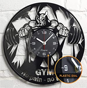 GYM CLOCK Wall Vinyl Bodybuilding Gifts Women Men Gym Gifts Dad Friends Gym Room Decor Fit Clock Bodybuilder Crossfit Fitness Clock - GYM Gift Idea - GYM Decor - GYM Wall Clock - GYM Wall Decor Black