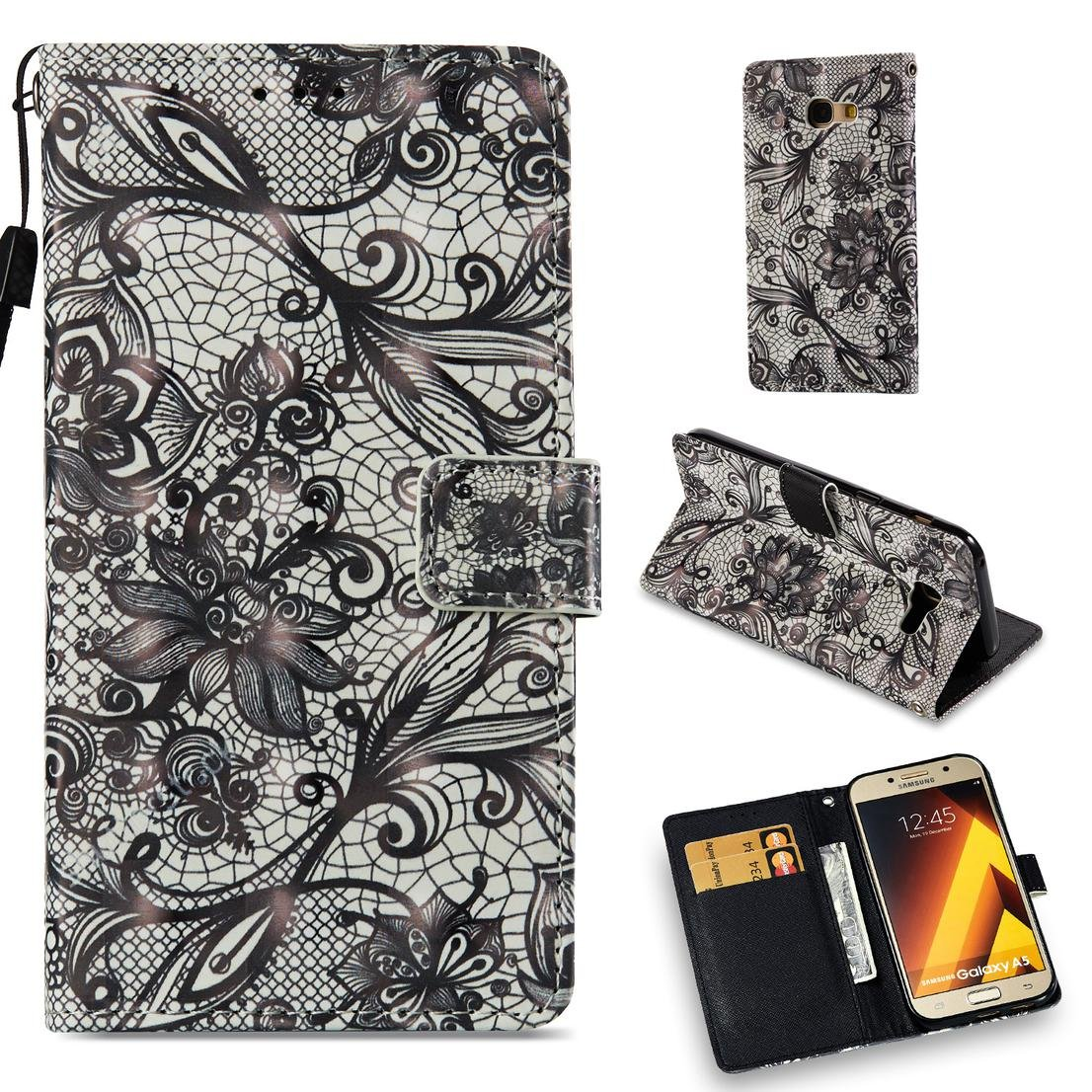 Amazon.com: Galaxy A5 2017 Case,Pu Leather Wallet Cover Flip ...
