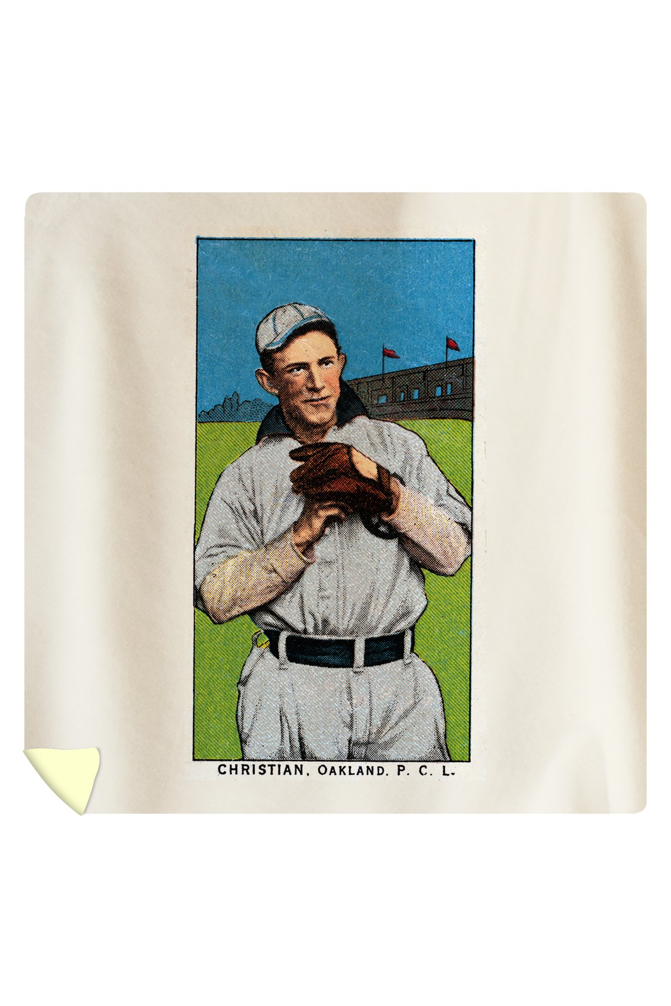 Oakland Pacific Coast League - Christian - Baseball Card (88x88 Queen Microfiber Duvet Cover) by Lantern Press
