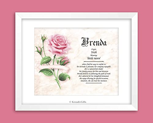 Couple Engagement Anniversary Vows Wedding Valentines PINK ROSE Personalized ANY First Name Meaning Keepsake Print 8.5 x 11