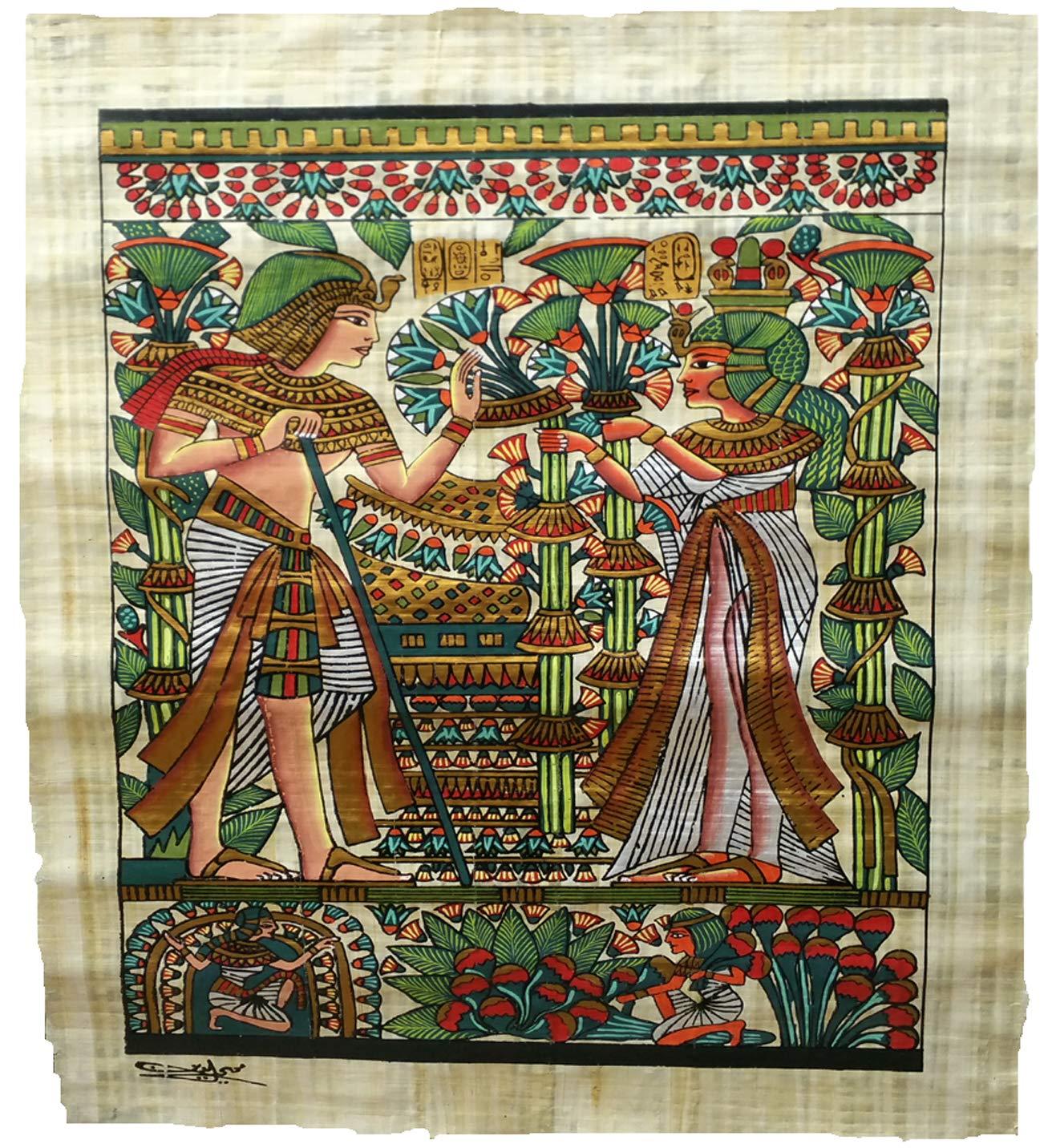 Horus Artesanía de Egipto Papiro di Tut Matrimonio Ank Amun, su Originale Papiro Fatto a Mano e Dipinto a Mano in Egitto, 60 x 90 cm HorusEgipto