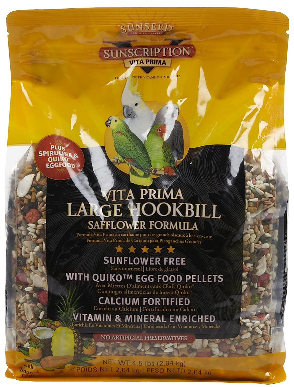 Sunseed Vita Prima Sunscription Lg Hookbill Pet Bird Food, Safflower High-Variety Formula 4.5 Lbs Size