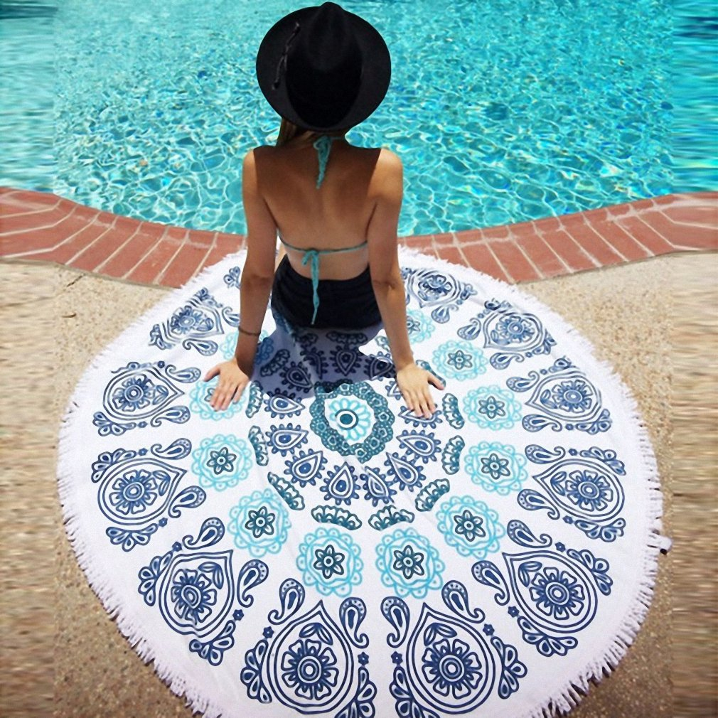 Amazon.com: toalla playa Microfiber Round Beach Towel 150cm Bath Towels Tassel Geometric Summer Women Swimming Sunbath serviette de plage 989110: Home & ...