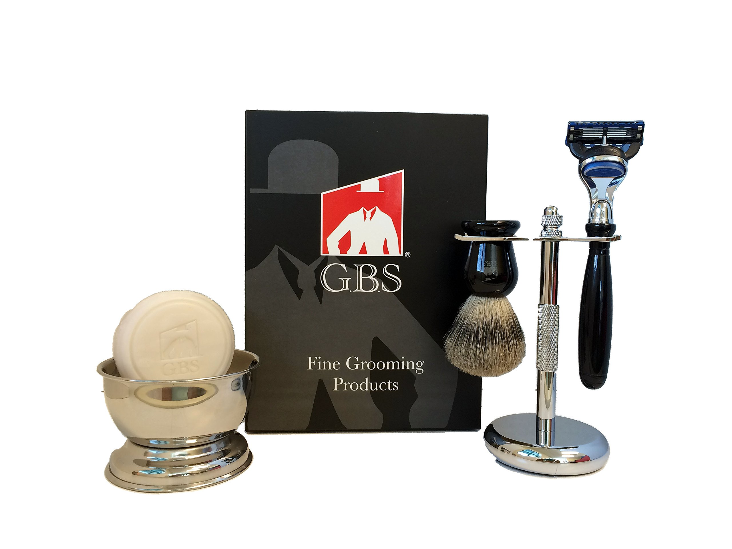 GBS 5 Piece Mens Shaving Gift Set - Comes with Gift Box - 5 Blade Razor + Pure Badger Brush + Chrome Brush and Razor Stand + Chrome Bowl + Soap