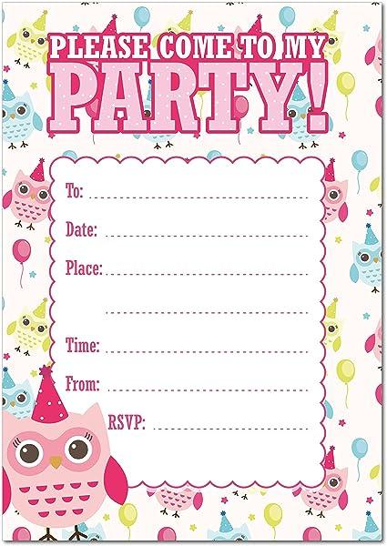 Pack de 16 A6 Niñas cumpleaños invitar invitaciones de fiesta con ...