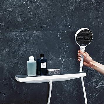 hansgrohe 26858700 Rainfinity Fixfit Toma de agua Porter 500 con soporte de ducha y repisa derecha blanco mate