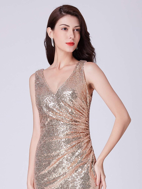 Ever Pretty Womens V Neck Floor Length Sleeveless Sequin Long Formal Evening Dresses 07405: Amazon.co.uk: Clothing