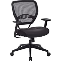 SPACE Seating Professional AirGrid Dark Back and Padded Black Eco Leather Seat, 2-to-1 Synchro Tilt Control, Adjustable Arms and Tilt Tension with Nylon Base Managers Chair (Renewed)