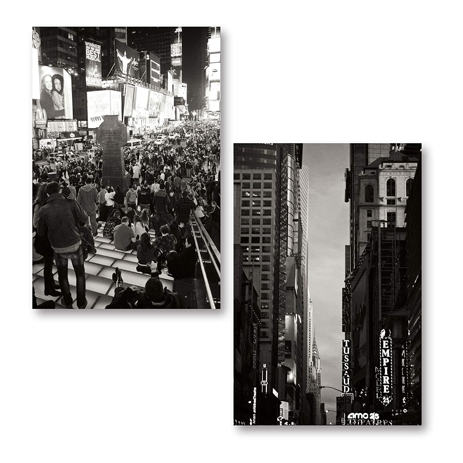 Amazon com gango home decor beautiful black and white photos of time square and manhattan sky two 12x18in poster prints posters prints