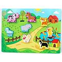 Toys of Wood Oxford Wooden Animal Puzzles - Shinnington Farm Animals Peg Puzzles Chunky Size - Wooden Puzzle for Toddlers