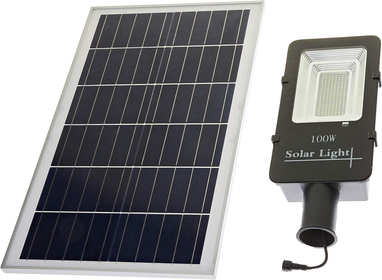 JANDEI - Farola LED 60W Solar Exterior IP65 Panel Orientable 120 LEDS 1375 Lúmenes 6000K Blanco Frío Batería Ion-Litio: Amazon.es: Iluminación