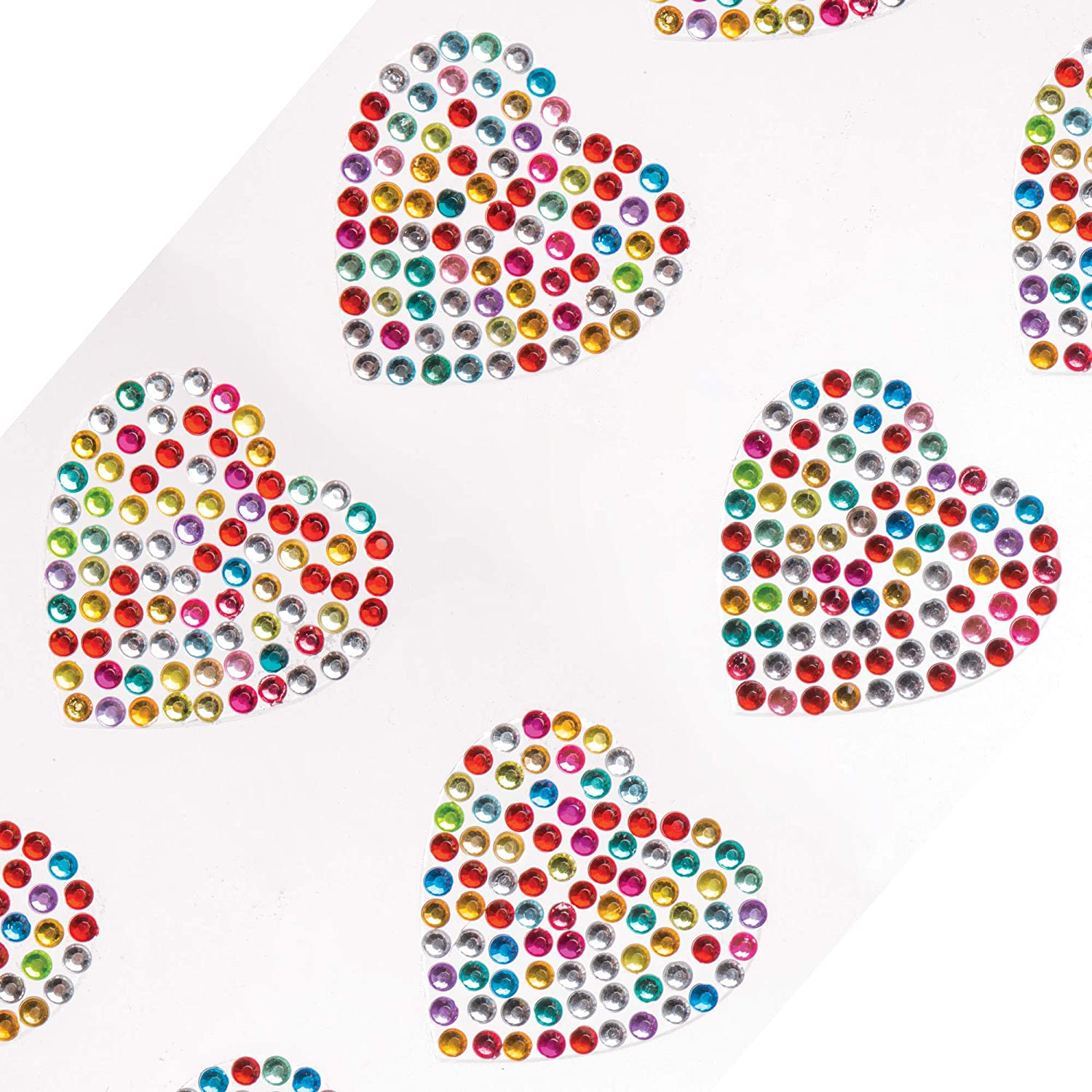 Embellishments for Kids Arts and Crafts Pack of 12 Mothers Day or Carnival // Mardi Gras Decoration for Valentines Baker Ross Rainbow Heart Crystal Gem Stickers