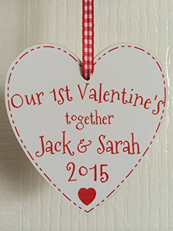 our first valentines together heart plaque decoration personalised with any names any year 2017 - First Valentines Day