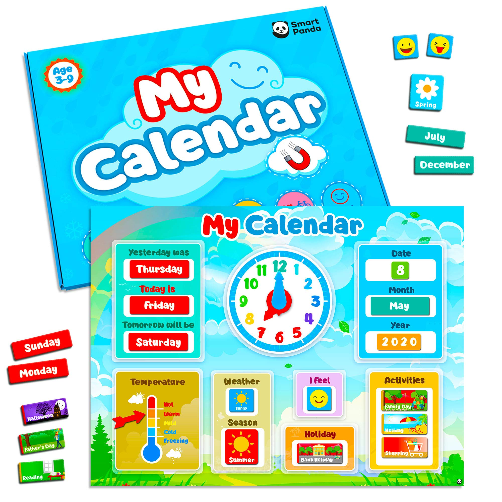 My First Daily Calendar for Kids – Magnetic Educational Toy for Toddlers – Includes Weather Station and Emotions – Preschool Learning Gift for Boys and Girls – Wall or Fridge