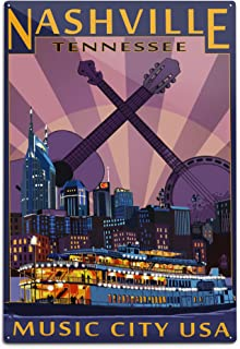product image for Lantern Press Nashville, Tennesseee - Skyline at Night 40419 (6x9 Aluminum Wall Sign, Wall Decor Ready to Hang)