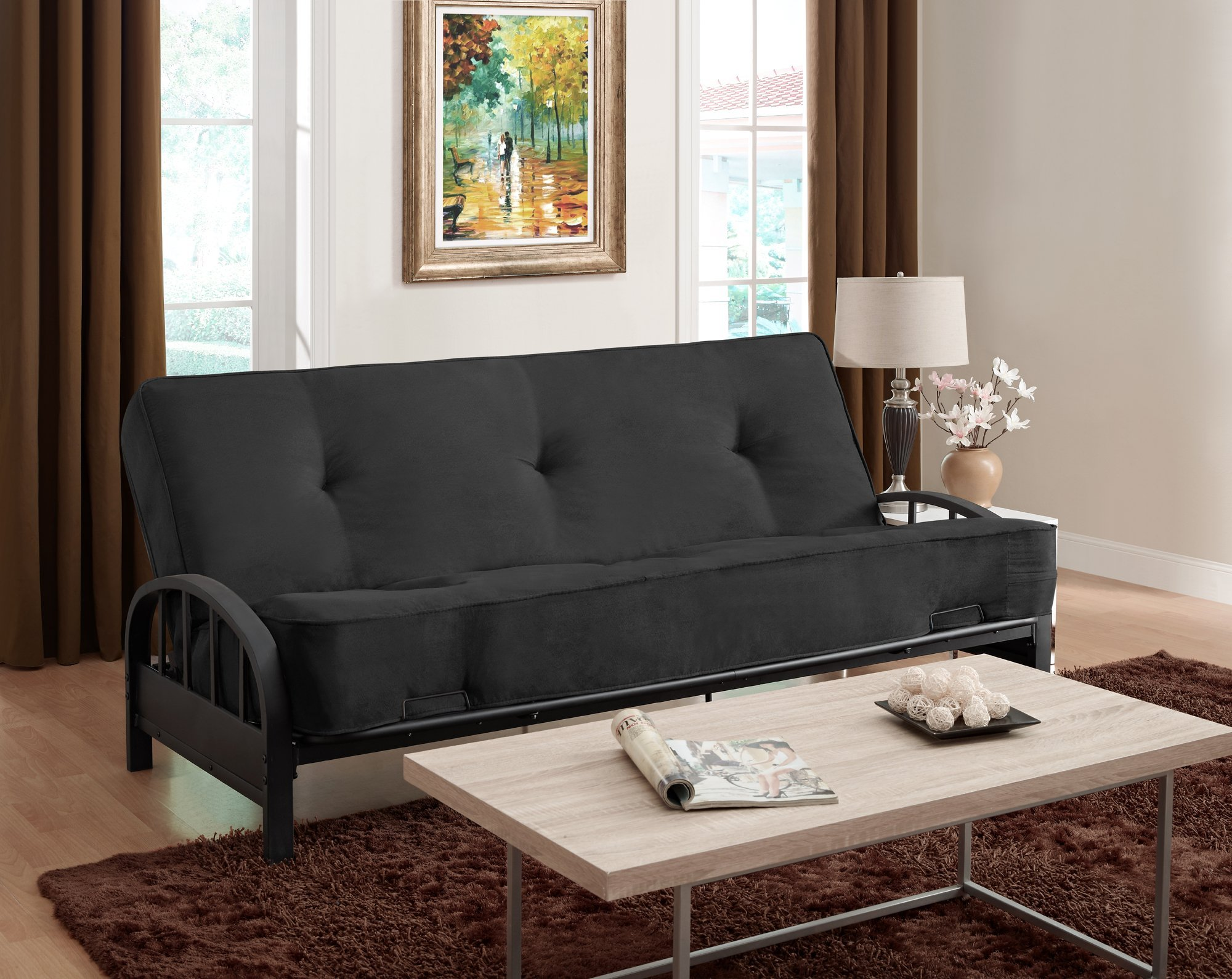 DHP Aiden Futon Metal Frame, Converts Easily to a Full- Size Bed, Black by DHP (Image #6)
