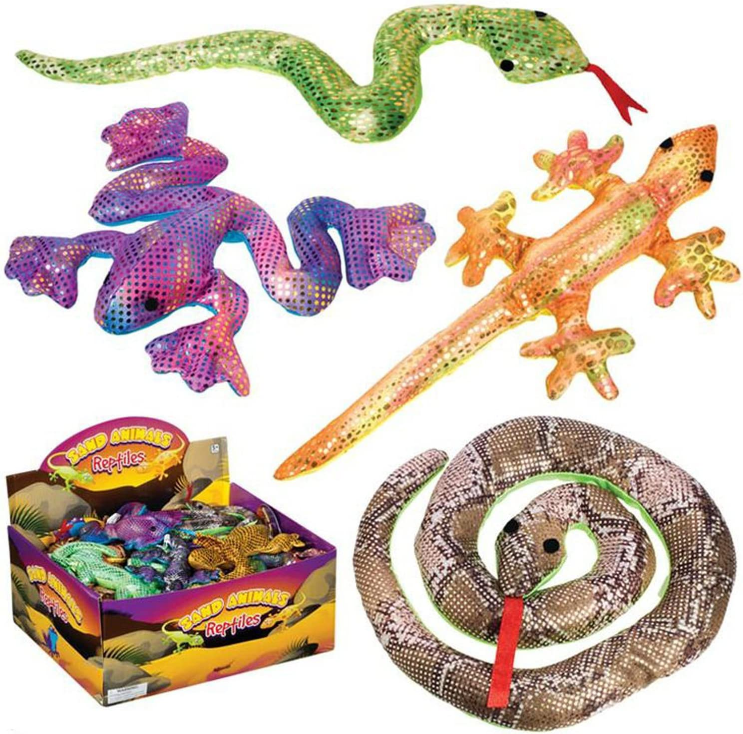 Sand Filled Stuffed Animals, Amazon Com Toysmith Sand Filled Shimmering Reptiles 1 Count Assorted Colors And Styles Toys Games